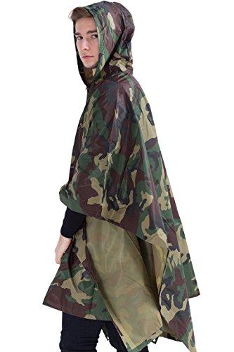 Camouflage Raincoat Mens (Msmsse Men's Rain Poncho Outdoor Multifunction Military Raincoat Jungle Camouflage)