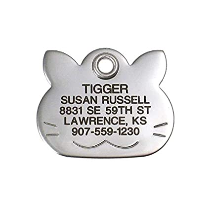 556a5c4f352d LuckyPet Pet ID Tag - Cat Face - Custom engraved dog & cat ID tags. Pet  safety tag has reflective coating and is available in plastic, stainless  steel and ...