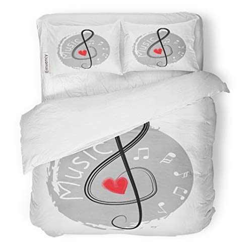 Semtomn Decor Duvet Cover Set King Size Red Black Musical Treble Clef Heart Abstract Artistic Composition 3 Piece Brushed Microfiber Fabric Print Bedding Set Cover]()
