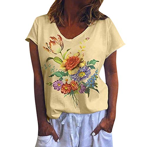 WILLBE Women's Short Sleeve V-Neck Floral Print Blouses Women's Short Sleeve Loose T Shirt Basic Tee Short Sleeve Tops Yellow