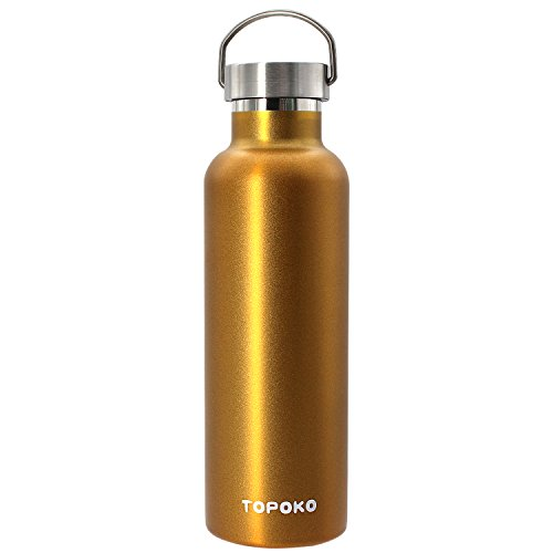 - TOPOKO 25 oz Stainless Steel Vacuum Insulated Water Bottle, Keeps Drink Cold up to 24 Hours & Hot up to 12 Hours, Leak Proof and Sweat Proof. Large Capacity Sports Bottle (Gold)