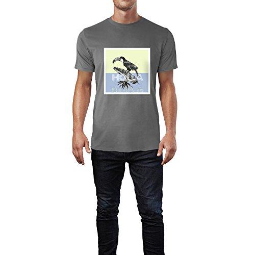 SINUS ART® Tropischer Vogel auf Bananenblatt Herren T-Shirts in Grau Charocoal Fun Shirt mit tollen Aufdruck