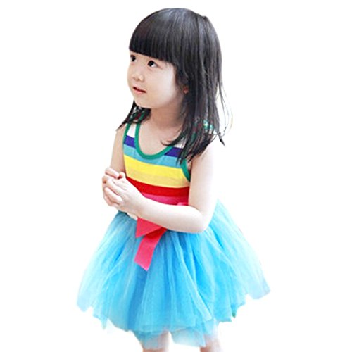 Weixinbuy Kids Girl Cotton Blend Puffy Bow Sundress Stripe Skirt Blue 2-3Y