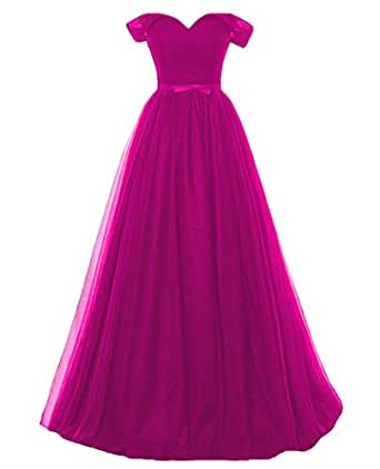 QiJunGe Women's Ruched Off The Shoulder Evening Gowns Cute Bow Sash Prom Dress Fuchsia US 20W