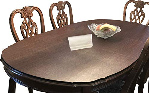 Table Pads for Dining Room Table, Custom Made, Premium Table Pad | Bundle with L&L Table Runner (2 Items)(Color: Chestnut Vinyl Top/Brown Dura-Velvet Bottom)(Max.Size: 80