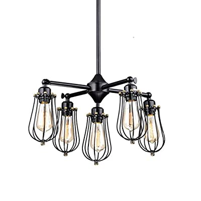CLAXY® Ecopower Vintage Style Industrial Wire Cage Chandelier --- 5 Lights