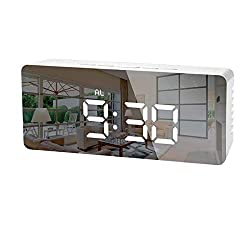 LEDGLE Digital LED Alarm Clock Desk Clock with Glass Display Screen Displays Time Temperature and Calendar Snooze Function 2 Brightness Levels USB Charging Port/Battery Backup Function