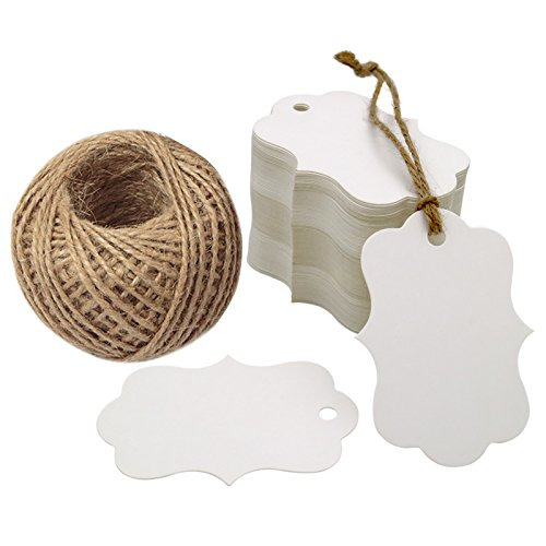 G2PLUS 100 PCS White Paper Gift Tags, 2.75''x 1.97'' Kraft Blank Hang Tags with 100 Feet Jute Twine -