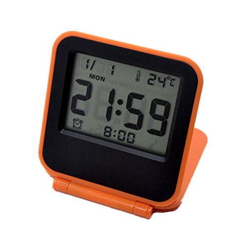 Flatled Lcd Travel Alarm Clock  Orange Ultra Thin Clamshell 12 24 Hour With Temperature Date Week Repeating Snooze Lcd Digital Screen Alarm Clock