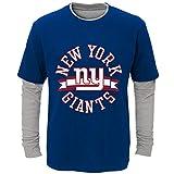 NFL Team Apparel York Giants Boys' Definitive Faux Layer Long-Sleeve TEE