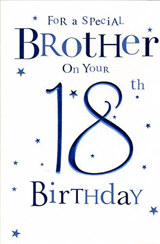 Amazon Brother Happy 18th Birthday Card Blue Balloons By