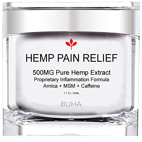 (Premium Hemp Pain Relief Cream - Pure 500mg Extract - Relieves Muscle, Back & Joint Pain - Reduces Soreness & Inflammation, All Natural Arnica + MSM + Caffeine + Tea Tree - Made in The USA, 50ML.)