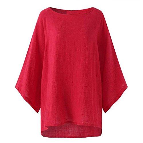 Clearance! Women Blouse Daoroka Ladies Cotton Linen Plus Size Three Quarter Sleeve Casual Loose Tops Autumn Fashion Cute Comfort Pullover T Shirts -