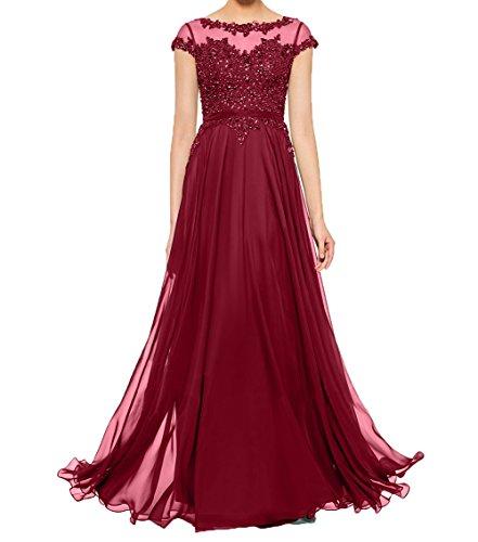 Chiffon Charmant Abendkleider Spitze Dunkel Kurzarm Ballkleider Elegant Partykleider Brautmutterkleider Damen mit Rot Erfqpr