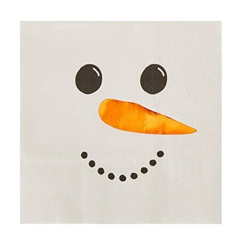 Cocktail Napkins - 50-Pack Disposable Paper Napkins, Christmas Holidays Dinner Party Supplies, 3-Ply, Snowman with Orange Foil Nose Design, White, Unfolded 10 x 10 Inches, Folded 5 x 5 Inches