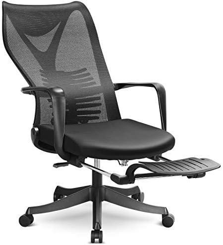 MFAVOUR Sedia da Ufficio Ergonomica per Studio Sedia da Scrivania con Poggiapiedi Sedia Regolabile Portata 150kg NERO