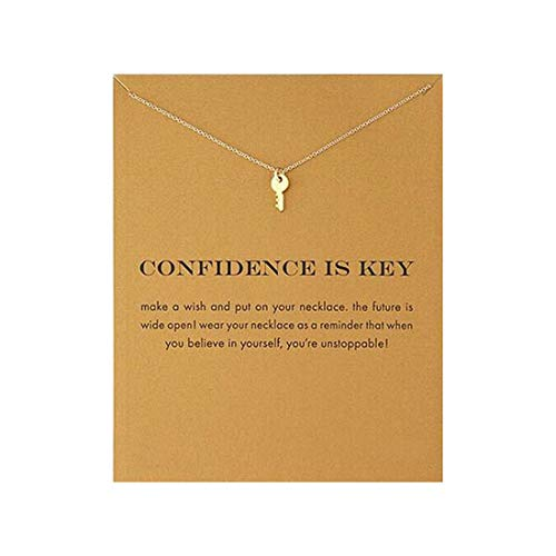 QXFQJT Simple Key Clavicle Necklace Wish - Affirmation Pendant