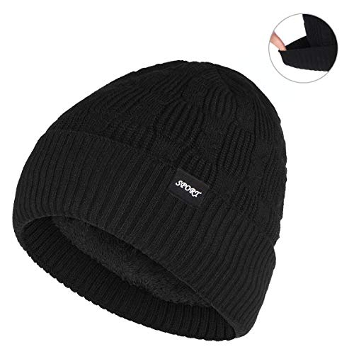(Bodvera Winter Warm Slouchy Beanie Hat Oversized Cable Knit Hat Thick Soft Stretch Cuff Skull Cap Black)