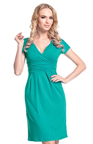 Glamour Empire Mujeres Corto Manga Jersey Lápiz Casual Vestido 573 (Verde Azulado, EU 46, 3XL)