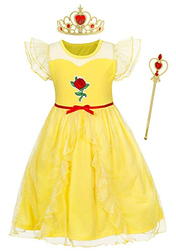 HenzWorld Little Girls Princess Belle Costume Dress up Nightgowns Pajamas Dresses Yellow with Jewelry Accessories 3t 2-3 Years