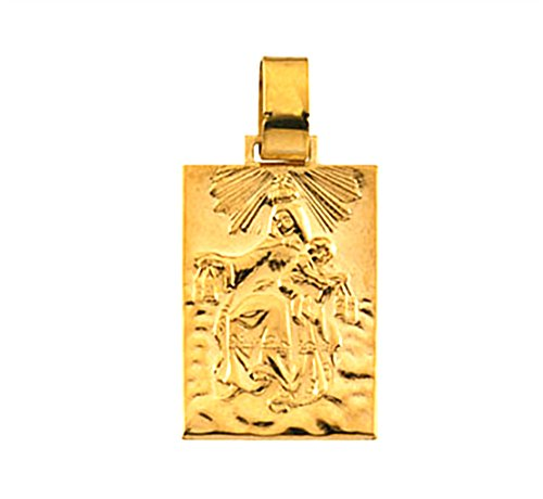14k Yellow Gold Our Lady of Mount Carmel Medal (19.4x14 MM) ()