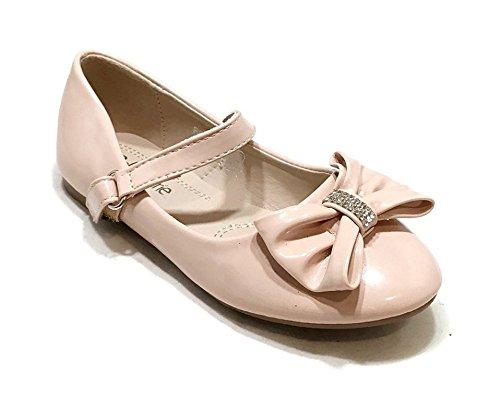 Anna Kids Dress Ballet Flats Mary Jane Slip On Comfortable Ballerina NUDE Synthetic Shoes 1 US Little Kid