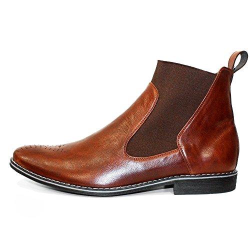 PeppeShoes Modello Sliko - Cuero Italiano Hecho A Mano Hombre Piel Marrón Chelsea Botas Botines - Cuero Cuero Suave - Ponerse