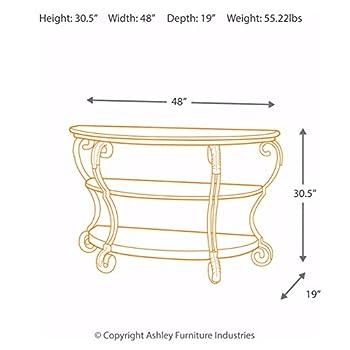 Ashley Furniture Signature Design - Nestor Sofa Table - 2 Shelf - Semi Circle - Medium Brown