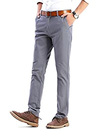 Mens Slim Fit Tapered Flat Front Casual Pants 100% Cotton Work Pants, 21 Colors For Choice