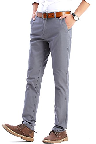Fashion Slim Fit Casual Dress Pants for Men, Silver Gray Twill Pants, Size 32 Inseam 32""