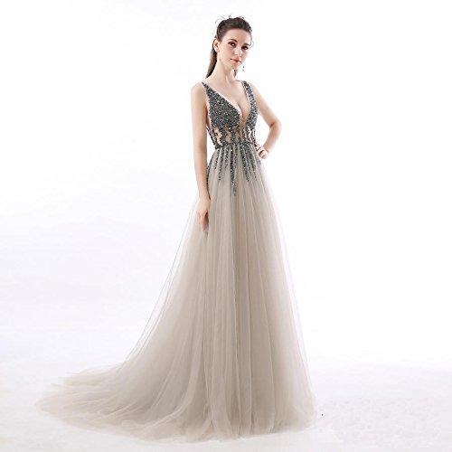 Grau AbschlussballKleider KAIDUN V Damen Kleid Lang Elegant Ausschnitt Abendkleider nHCxfOqHw