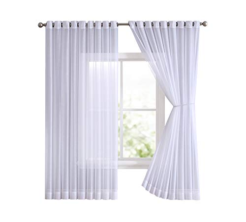 (Grommet Semi-Sheer Extra Wide - 2 Wall-to-Wall Curtain Panels - Total Size 216 Inch Wide (108 Inch Each Panel) - 99 Inch Long - Natural Light Flow (2 Panels - 108