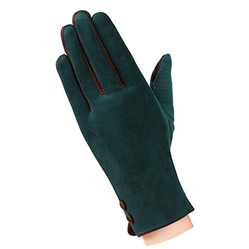 Fashion Winter Female Touched Glove Women Warm Wrist Mittens Touched Gloves With Three Buttons,G124 A Dark green