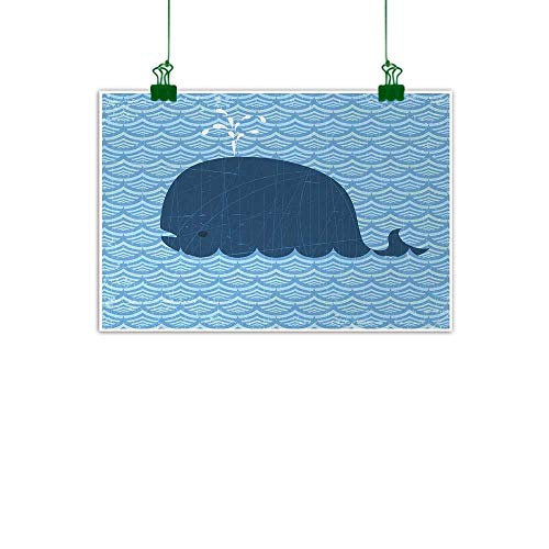 Whale Art Oil Paintings Little Whale Water on Top with Artwork Deco Wavy Like Patterned Background Abstract Work Canvas Prints for Home Decorations 32