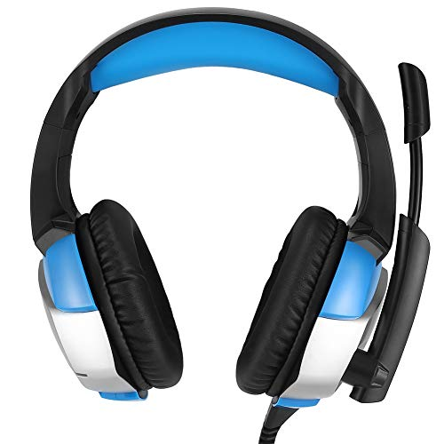 (Infgreate USB Wired Gaming Headsets, K5 Gaming Headset Universal Rotating Mic Wired Over-Head Bass Gaming Headphones Blue)
