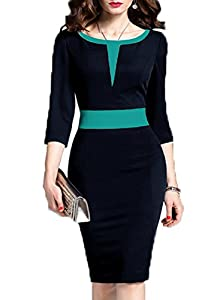 WOOSEA Women's 2/3 Sleeve Colorblock Slim Bodycon Business Pencil Dress