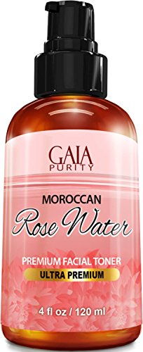 PURE Rose Water, Large 4oz (Moroccan) Made from Petals: 100% All Natural RoseWater Bottle - Best Complete Facial & Skin Toner, Hair Oil, Moisturizer and Cleanser - Makes a Great Rose Tub Tea Aromatherapeutic Mineral Bath