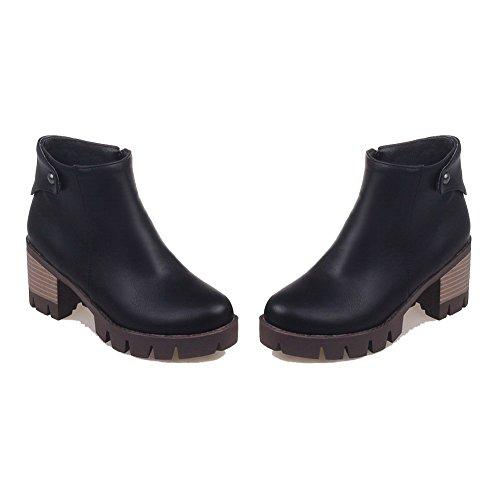 Boots Kitten high Ankle Black PU Solid Zipper Heels Allhqfashion Women's xYBnwq8