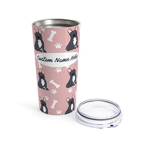 Custom Black French Bulldog 20oz Travel Mug - Personalized Stainless Steel Insulated Tumbler Cup for Dog Lovers Warm Cold Drinks Coffee Beer Gifts for Men Women Frenchies