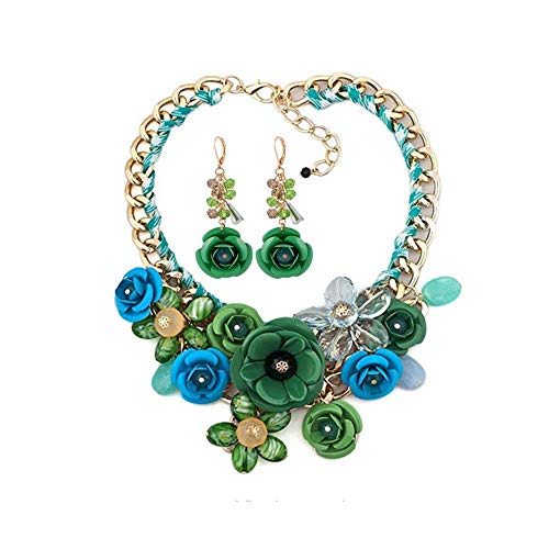 HoBST Floral Flower Statement Necklace and Earring Set Choker Chunky Gold Plated Chain Pendant Jewelry (Green)