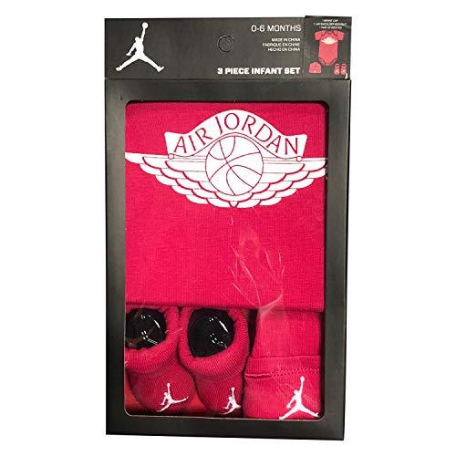 (Jordan 3 Pieces Newborn Boys or Girls Gift Box 0-6 or 6-12 Months 100% Cotton | Newborn Bodysuit, Booties & Cap (Fuchsia, 0-6 Months))