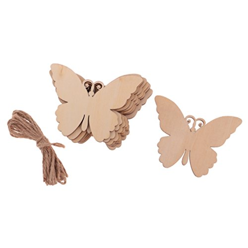 Jili Online 10Pieces Wood Butterfly Ornament Embellishment Tag with -