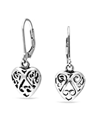 Cut Out Swirl Celtic Heart Sterling Silver Dangle Earrings
