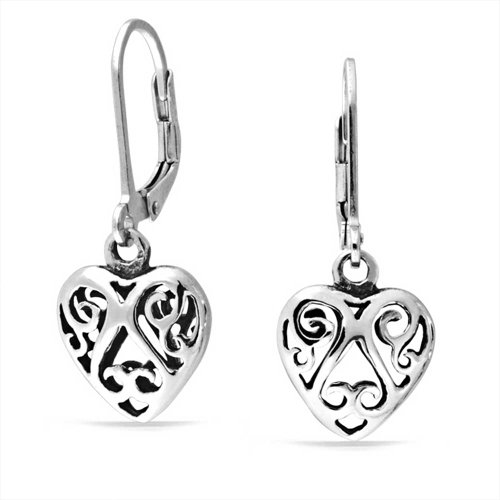 Bling Jewelry Cut Out Swirl Celtic Heart Sterling Silver Dangle Earrings Cut Out Swirl