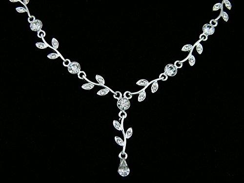 Elegant Vine Design Bridal Wedding Crystal Necklace Earrings Set - Silver Plated Clear Rhinestones N195 by SAMKY (Image #3)
