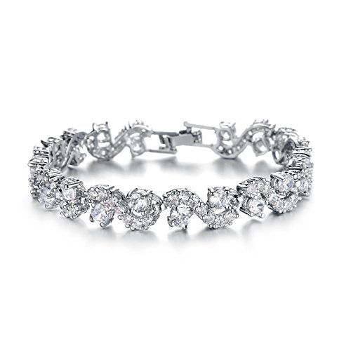 T-PERFECT LIFE 18K Platinum-plated Swarovski Element AAA Cubic Zirconia Bracelet for Women Elegent Crystals Wedding Jewelry (7.5 inch white)