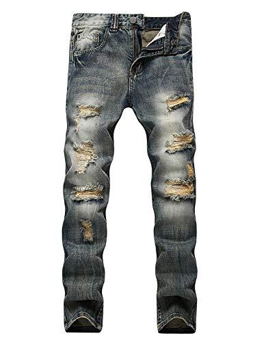 Versaces Hombre Jeans Heterosexual Agujero Cintura Media Pequeño Recto Ocio Pantalones