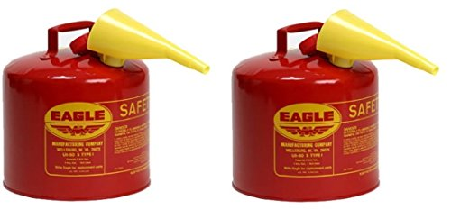 Eagle UI-50-FS Red Galvanized Steel Type I Gasoline Safety Can with Funnel, 5 gallon Capacity, 13.5'' Height, 12.5'' Diameter (Pack of 2) by Eagle