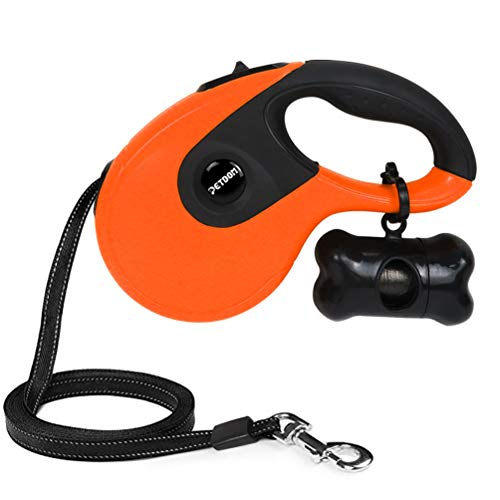 PETDOM Retractable Dog Leash - Heavy Duty Pet Leash for Medium Large Dogs Up to 110 lbs - 16 ft Nylon Reflective Tape, Tangle Free, One-Handed Brake, Pause, Lock - Large (Orange)