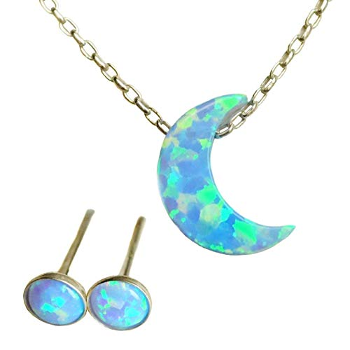 CHRISTMAS Crescent Moon blue fire Opal Necklace + FREE Stud 16